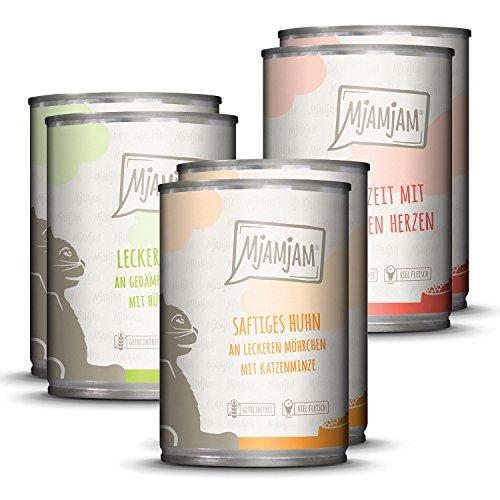 MjAMjAM – Premium Nassfutter für Katzen – Mixpaket I – Huhn, Rind, Herzen, 6er Pack (6 x 400 g), getreidefrei mit extra viel Fleisch