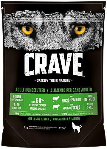 CRAVE Premium Trockenfutter mit Lamm & Rind für Hunde – Getreidefreies Adult Hundefutter mit hohem Proteingehalt – 5 x 1 kg