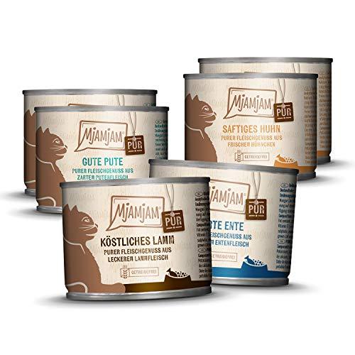 MjAMjAM – Premium Nassfutter für Katzen – Mixpaket V – Purer Fleischgenuss, 6er Pack (6 x 200 g), getreidefrei mit extra viel Fleisch