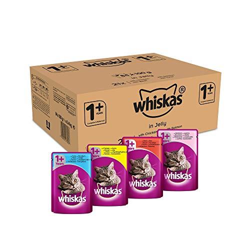Whiskas 1 + Katzenfutter – Geflügel-Auswahl in Gelee – Hochwertiges Feuchtfutter für ausgewachsene Katzen – 84 Portionsbeutel à 100g