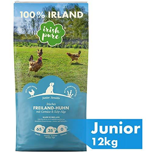 Irish Pure Junior Freiland-Huhn mit Kelp-Alge & Gemüse – Welpen Trockenfutter für wachsende Hunde, Hoher Fleischanteil, Getreidefrei, Sensitiv, Puppy, Hundetrockenfutter, Hundefutter (12kg)