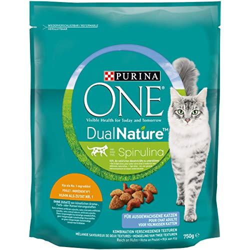 ONE DUAL NATURE für ausgewachsene Katzen Huhn mit Spirulina KatzentrockenfutterBeutel, 750 g