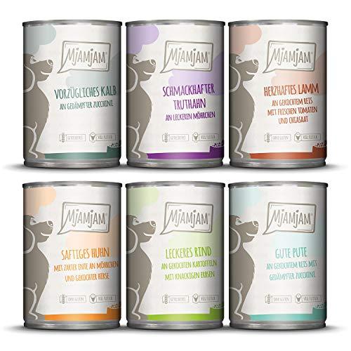 MjAMjAM – Premium Nassfutter für Hunde – Mixpaket II – mit Huhn & Ente, Rind, Pute, Kalb, Truthahn, Lamm, 6er Pack (6 x 400 g), getreidefrei mit extra viel Fleisch
