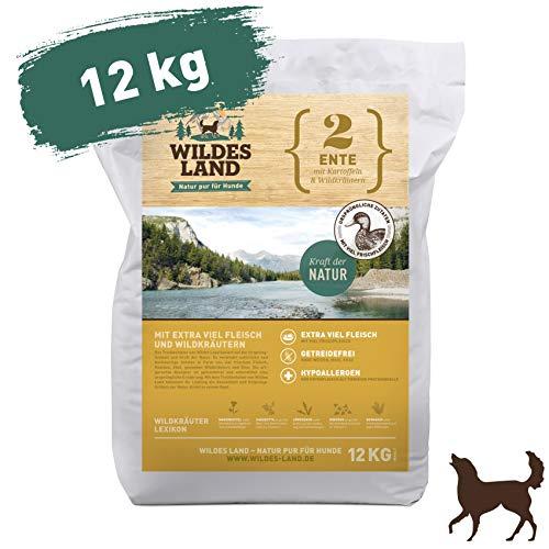 Wildes Land | Trockenfutter für Hunde | Nr. 2 Ente | 12 kg | mit Kartoffeln und Wildkräutern | Glutenfrei & Hypoallergen | Extra viel Fleisch | Alle Hunderassen | Beste Akzeptanz und Verträglichkeit