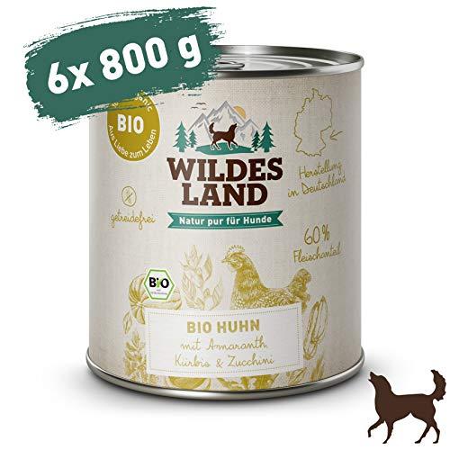 Wildes Land | Nassfutter für Hunde | Bio Huhn | 6 x 800 g |Getreidefrei & Hypoallergen | Extra hoher Fleischanteil von 60% | 100% zertifizierte Bio-Zutaten | Beste Akzeptanz und Verträglichkeit