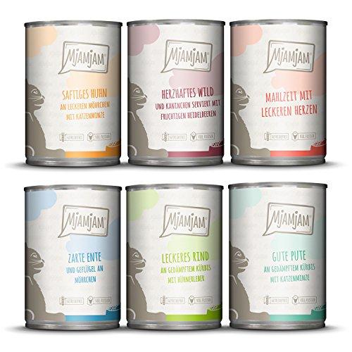 MjAMjAM – Premium Nassfutter für Katzen – Mixpaket III – Wild & Kaninchen, Pute, Ente & Geflügel, Herzen, Huhn, Rind, 6er Pack (6 x 400 g), getreidefrei mit extra viel Fleisch