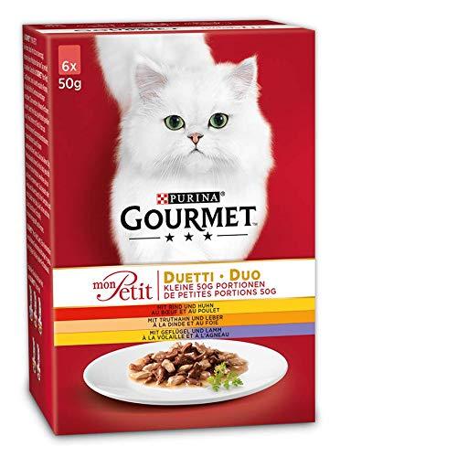 Purina GOURMET Mon Petit Katzenfutter Duetti Fleisch, 8er Pack (8 x 6 x 50 g)