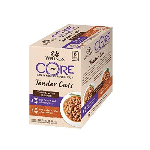 Wellness CORE Tender Cuts / Katzenfutter Nass / Getreidefrei / Hoher Fleischanteil / Pute Selection Mix, 6 x 85 g Pouches