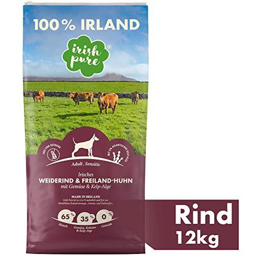 Irish Pure Adult Weiderind & Freiland-Huhn mit Kelp-Alge – Trockenfutter für Hunde, Hoher Fleischanteil, Vitamine, Getreidefrei, Sensitiv, Hundetrockenfutter, Hundefutter für alle Rassen (12kg)
