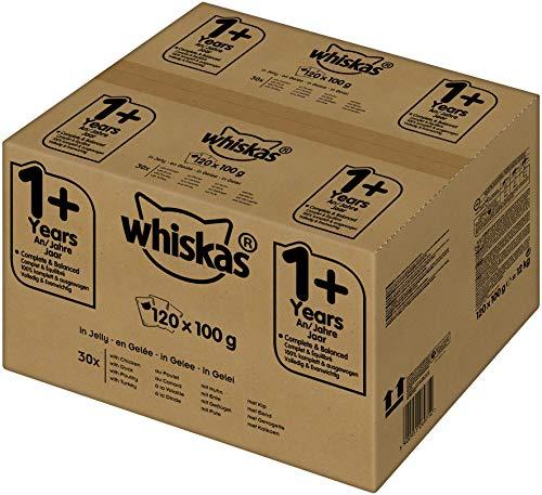 Whiskas 1 + Katzenfutter – Geflügel-Auswahl in Gelee – Hochwertiges Feuchtfutter für ausgewachsene Katzen – 120 Portionsbeutel à 100g