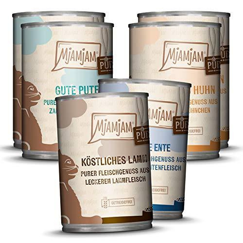 MjAMjAM – Premium Nassfutter für Katzen – Mixpaket V – Purer Fleischgenuss, 6er Pack (6 x 400 g), getreidefrei mit extra viel Fleisch