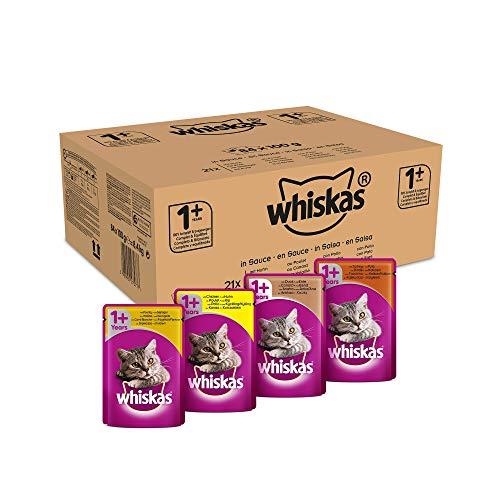Whiskas 1 + Katzenfutter – Geflügel-Auswahl in Sauce – Schmackhaftes Feuchtfutter für eine gesunde Katze – 84 Portionsbeutel à 100g