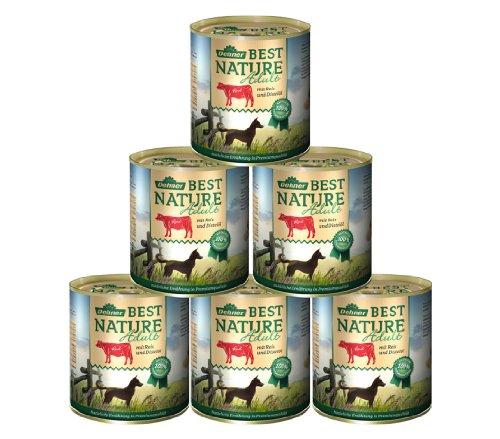 Dehner Best Nature Hundefutter Adult, Rind und Reis mit Distelöl, 6 x 800 g (4.8 kg)