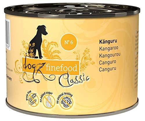 dogz finefood Hundefutter nass – N° 6 Känguru – Feinkost Nassfutter für Hunde & Welpen – getreidefrei & zuckerfrei – hoher Fleischanteil, 6 x 200 g Dose